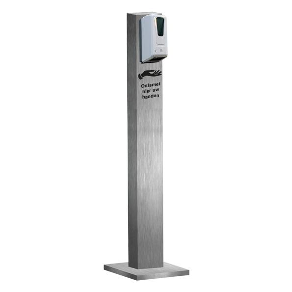 Hygiëne Zuil Basic Automatische Dispenser Geborsteld Metaal
